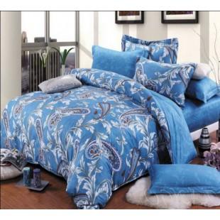 Постельное белье красивой синей гаммы с восточным огурцом и листьями - твил