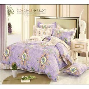 Нежно-фиолетовое постельное белье с бежевым - твил
