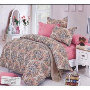 Комбинированное постельное белье полосы и восточный узор розовое