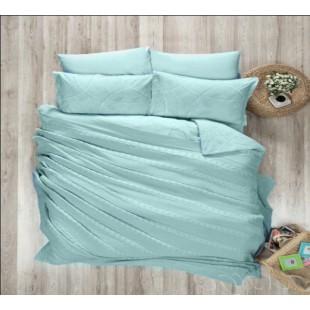 Нежно-голубой комплект постельного с покрывалом (вязка) - элит