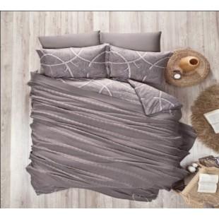 Кофейное постельное белье с вязаным покрывалом - Элит