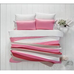 Бело-розовое постельное белье с вязаным покрывалом рисунок полосы