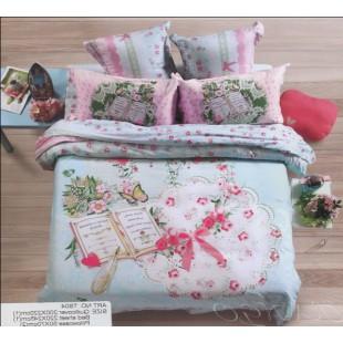Милое постельное белье в стиле печворк с бантиками и книгой нежно-голубое