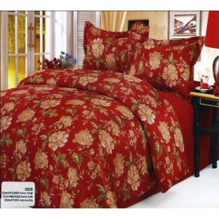 Постельное белье жатка бордовое с цветочным принтом - сатин