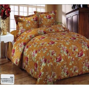 Коричневое постельное белье жатка с растительным рисунком