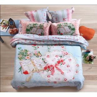 Нежно-голубое постельное белье из фланели в стиле печворк