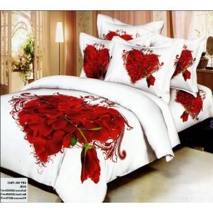 Постельное белье белое с сердцем из лепестков роз - Coeur