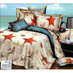 Постельное белье - Морские звезды и ракушки на пляже 3D