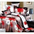 Постельное белье сиреневое с красными цветами и одуванчиками