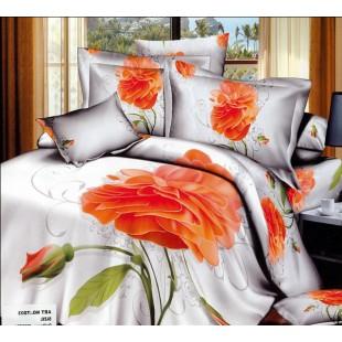 Постельное белье - Оранжевая роза 3D сатин белого цвета
