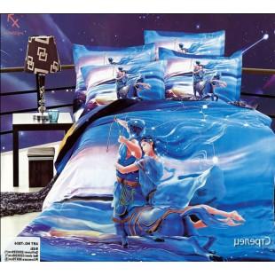 Постельное белье - Знак зодиака Стрелец 3D сатин синего цвета