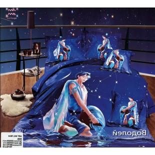 Постельное белье - Знак зодиака Водолей 3D сатин синего цвета