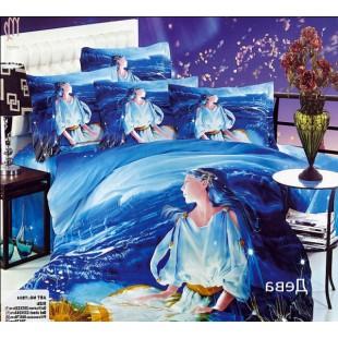 Постельное белье - Знак зодиака Дева 3D сатин синего цвета