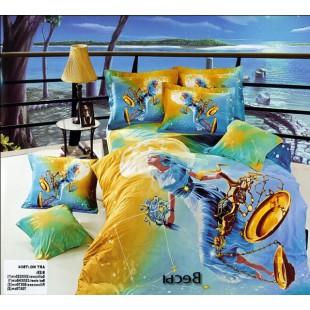 Постельное белье - Знак зодиака Весы 3D сатин желто-голубого цвета