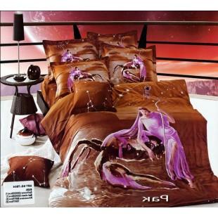 Постельное белье - Знак зодиака Рак 3D сатин коричневого цвета