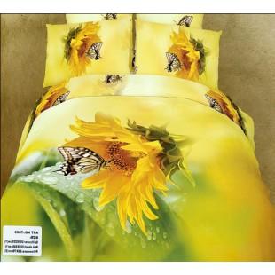 Постельное белье - Подсолнух с бабочкой 3D сатин желтого цвета