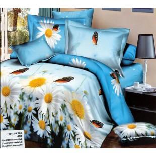 Постельное белье - Ромашки с бабочками под голубым небом 3D сатин