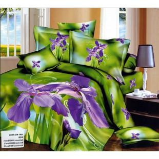 Постельное белье - Фиолетовые ирисы 3D сатин зеленого цвета