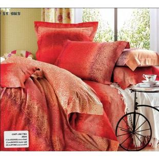 Красное в точечку сатиновое постельное