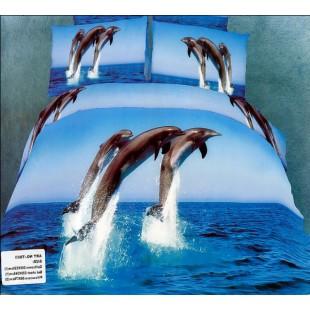 Постельное белье - Три дельфина в синем море 3D сатин