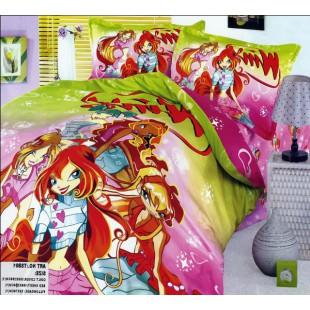 Детское постельное белье - Волшебницы Winx сатин зелено-розового цвета