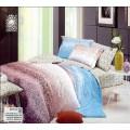 Трехцветное постельное белье - фиолетовый, белый, голубой