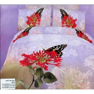 Постельное белье - Красный цветок с бабочкой 3D сатин сиреневого цвета