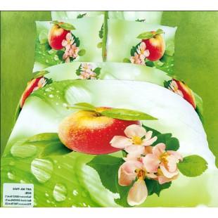 Постельное белье - Яблоко на ветке с цветами 3D сатин зеленого цвета