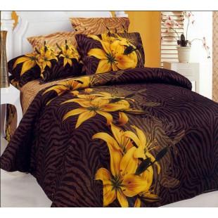 Постельное белье - Желтые лилии 3D сатин шоколадный фон
