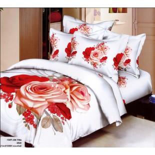 Постельное белье - Персиковые и красные розы 3D сатин белого цвета