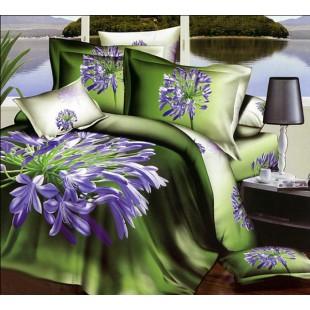 Постельное белье - Сиреневый цветок 3D сатин зеленого цвета