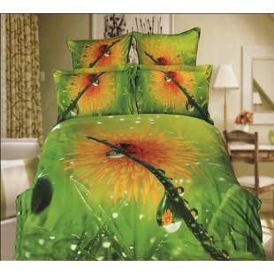 Постельное белье - Одуванчик с росой 3D сатин зеленого цвета