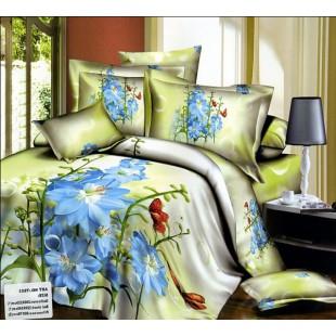 Постельное белье - Голубые цветы 3D сатин оливково-белого цвета