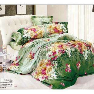 Постельное белье в зеленых тонах с цветочным орнаментом