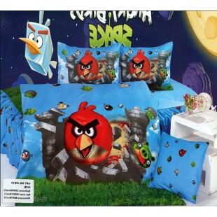 Детское постельное белье - Красная птичка Angry Birds сатин голубого цвета