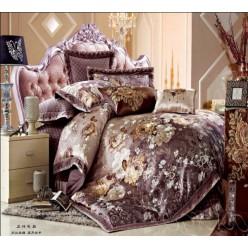 Шоколадное элитное постельное белье с покрывалом 10 в 1