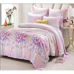 Комплект белья из эвкалиптового волокна розово-лазурной гаммы с цветочным рисунком