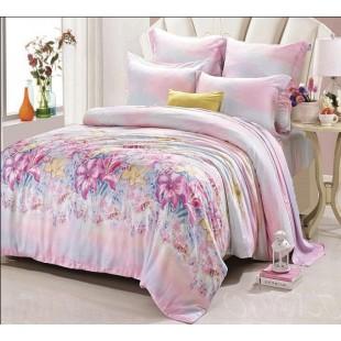 Комплект постельного белья из натурального эвкалиптового волокна розово-лазурной расцветки с цветочным рисунком