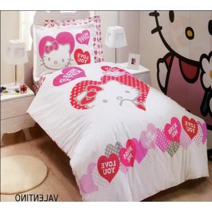 Детское постельное белье - Hello Kitty с сердечками хлопок белого цвета