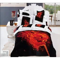 Постельное белье с горящей розой на черном фоне