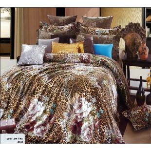 Коричнево-леопардовое постельное с бирюзовыми вставками и бежевыми цветами