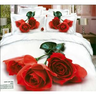 Постельное белье - Три красные розы 3D сатин белого цвета
