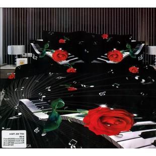 Постельное белье - Клавиши, ноты, красная роза 3D сатин черного цвета