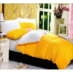 Постельное белье - Двухцветное белое и желтое однотонное