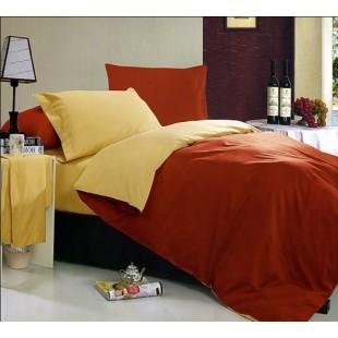 Постельное белье - Двухцветное желтое и кирпичное однотонное