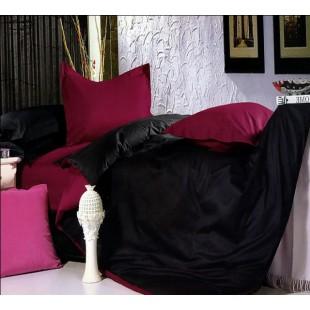 Постельное белье - Двухцветное бордовое и черное однотонное