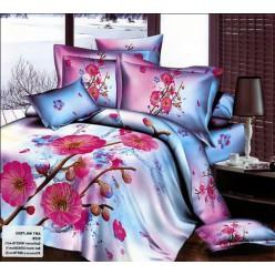 Небесно-розовое постельное белье с розовыми цветами