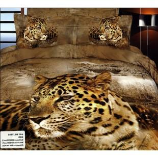 Постельное белье - Гепард 3D сатин коричневого цвета