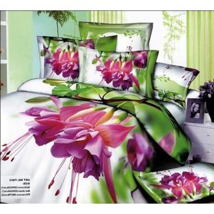 Постельное белье - Фиолетовые цветы 3D сатин бело-зеленого цвета