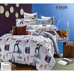 Стильное серо-голубое постельное белье с надписями style